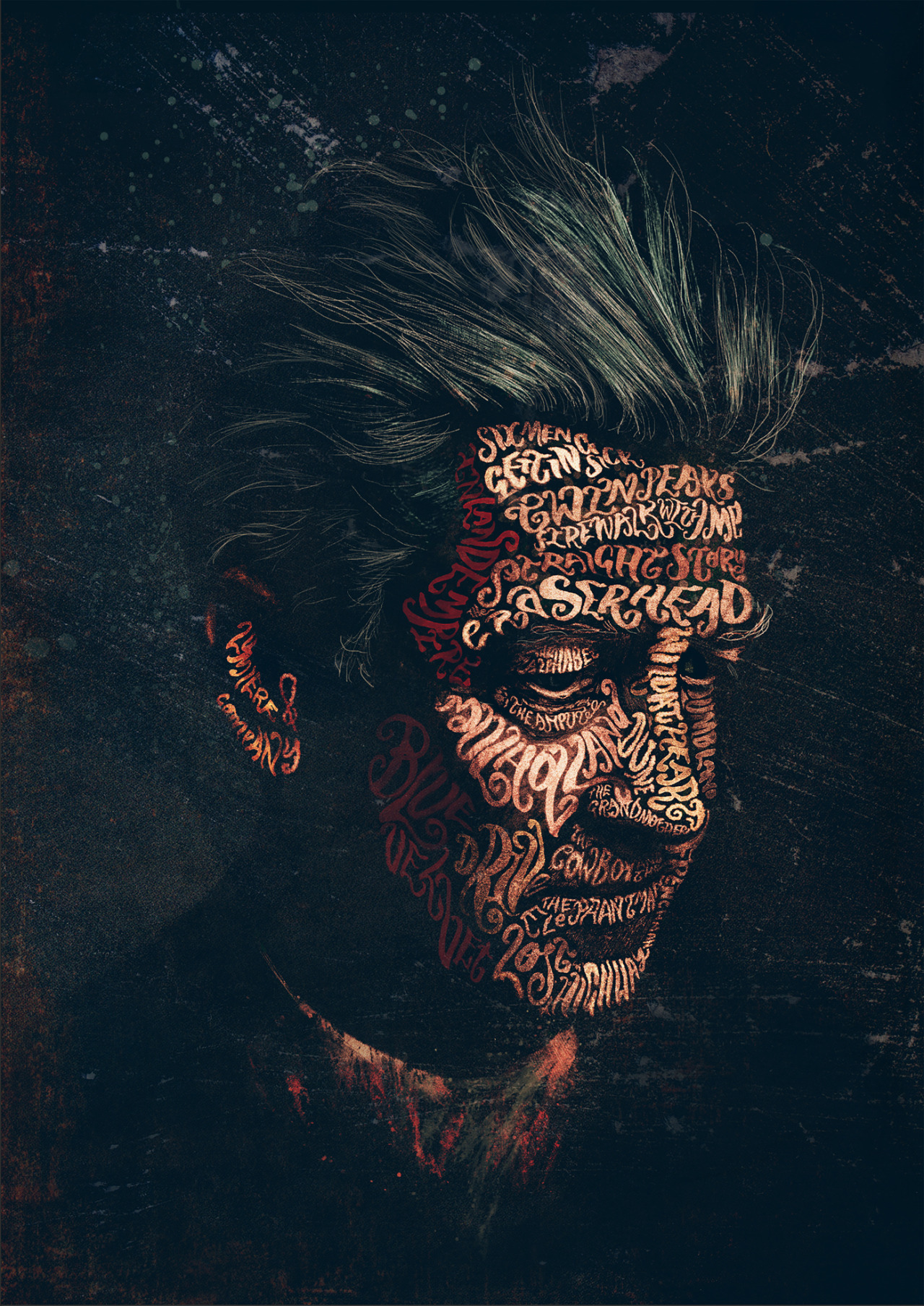 Cool art david lynch by peter strain live for films Typography portrait