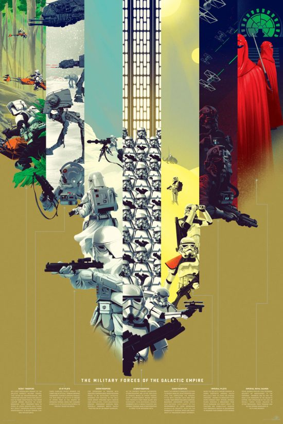 "The Military Forces of the Galactic Empire (Variant) by Kevin Tong 24"" x 36"" Screen Print"