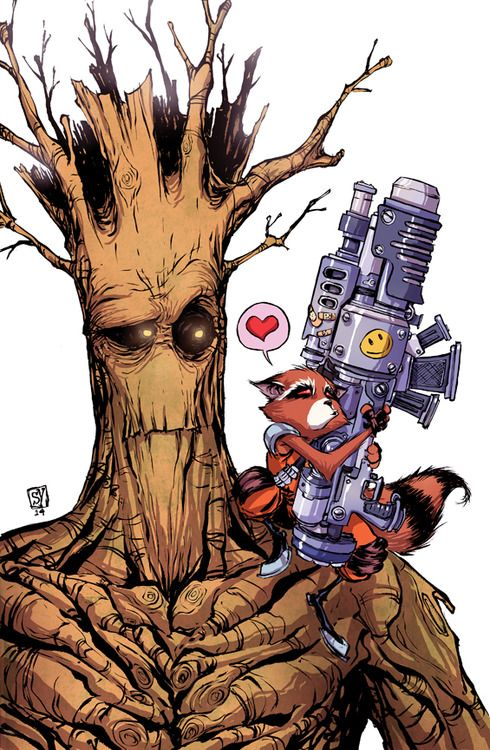 Groot and Rocket by Skottie Young