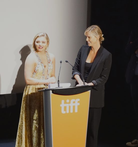 Chloe Grace Moretz and producer Charlize Theron at the premiere of Brain on Fire at the Toronto International Film Festival, September 2016