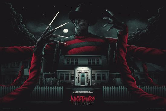 "A Nightmare on Elm Street by Matt Ryan Tobin. 36""x24"" screen print. Hand numbered. Edition of 250. Printed by D&L Screenprinting. $45"