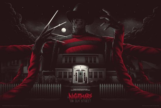 "A Nightmare on Elm Street (Variant) by Matt Ryan Tobin. 36""x24"" screen print. Hand numbered. Edition of 125. Printed by D&L Screenprinting. $65"