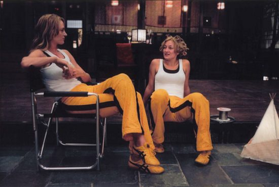 With Uma Thurman on the set of Kill Bill